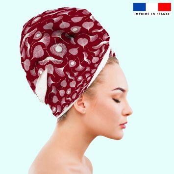 Coupon éponge pour serviette turban cheveux motif feuille ginkgo rouge