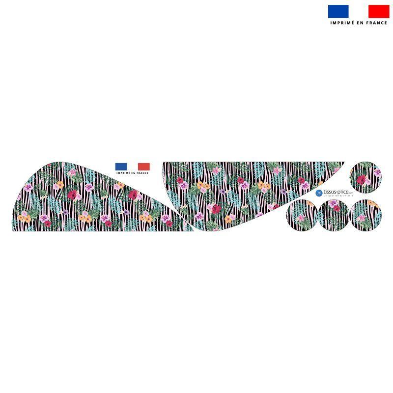 Coupon éponge pour serviette turban cheveux motif fleur tropicale et zébrures