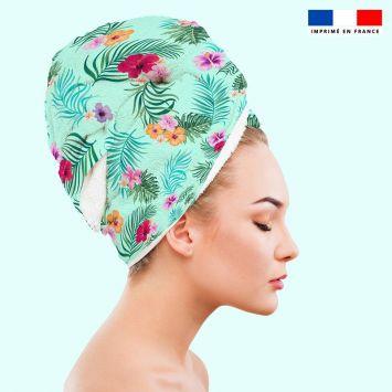 Coupon éponge pour serviette turban cheveux motif fleur tropicale vert