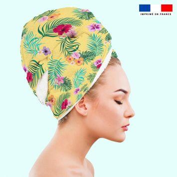 Coupon éponge pour serviette turban cheveux motif fleur tropicale jaune