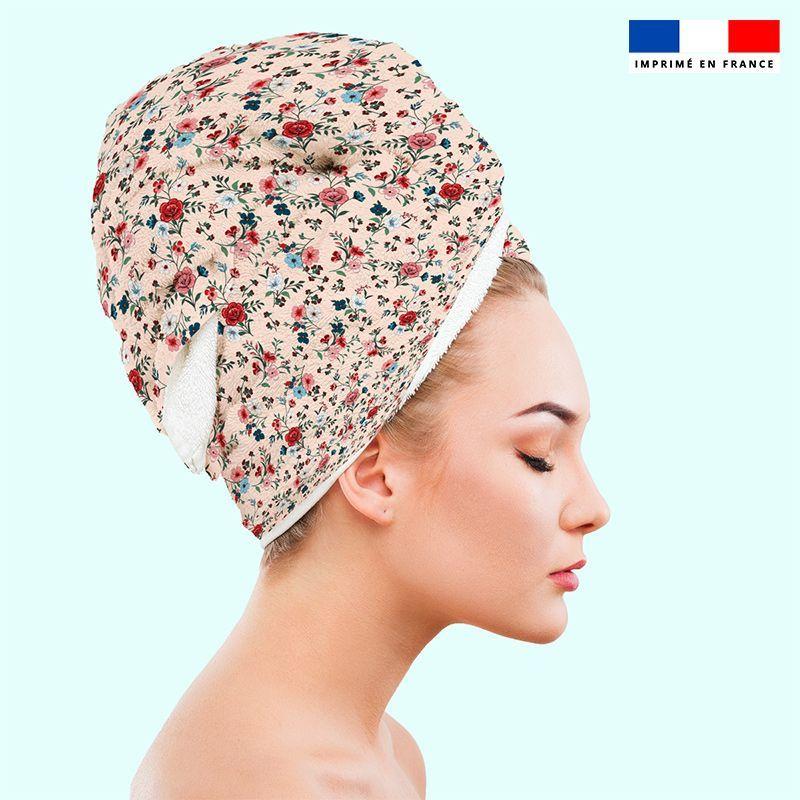 Coupon éponge pour serviette turban cheveux motif petites fleurs champêtres rose