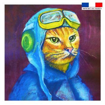 Coupon 45x45 cm motif chat aviateur - Création Mimie