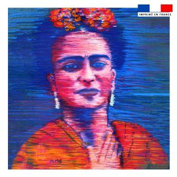 Coupon 45x45 cm motif Frida bleu - Création Mimie