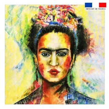 Coupon 45x45 cm motif Frida jaune - Création Mimie