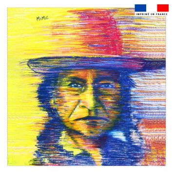 Coupon 45x45 cm motif homme au chapeau - Création Mimie