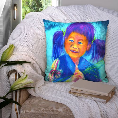 Coupon 45x45 cm motif petite fille aux petites couettes - Création Mimie