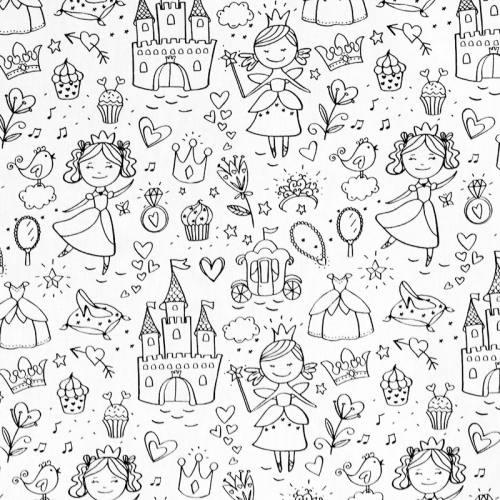 Tissu coton à colorier motif princesse
