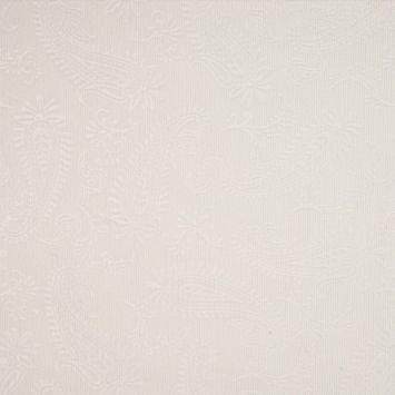 Tissu velours milleraies incrusté motif cachemire blanc cassé