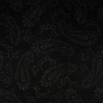 Tissu velours milleraies incrusté motif cachemire noir