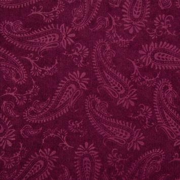Tissu velours milleraies incrusté motif cachemire prune