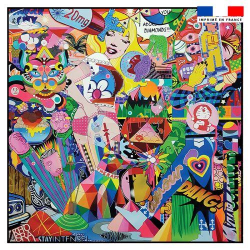 Coupon 45x45 cm motif happy lady recto - Création Khosravi