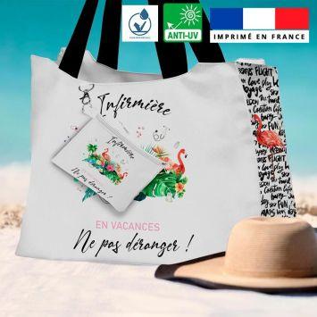 Kit sac de plage imperméable motif Infirmière en vacances - King size