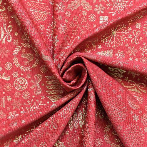 Jacquard rouge motif sapin doré Noel