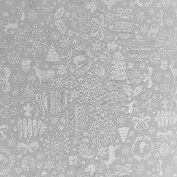 Jacquard blanc motif sapin argenté Noel