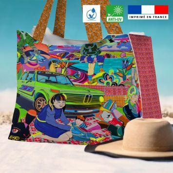 Kit sac de plage imperméable motif déjeuner sur l'herbe - Queen size - Création Khosravi