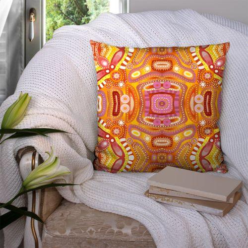 Coupon 45x45 cm motif miroir orange rose jaune - Création Lita Blanc