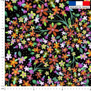 Fleurs multicolore - Fond noir - Création Lita Blanc