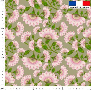 Fleur rose - Fond vert - Création Lita Blanc