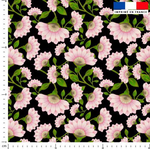 Fleur rose - Fond noir - Création Lita Blanc