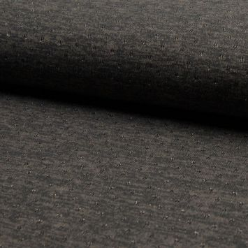 Lainage fin et ajouré avec un fil lurex gris