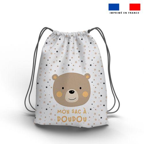 Kit sac à dos coulissant motif baby marron et ocre