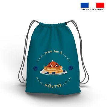 Kit sac à dos coulissant motif panda roux et son goûter bleu