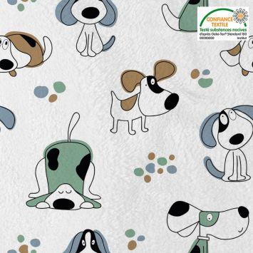 Polaire microfibre imprimée chien Oeko-tex