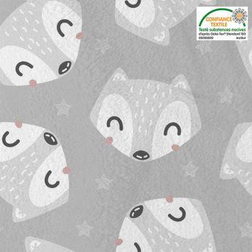 Polaire microfibre grise imprimée renard Oeko-tex