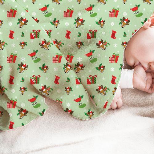 Renne et cadeaux de Noel - Fond vert