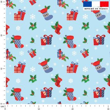 Bottes et cadeaux de Noel - Fond bleu