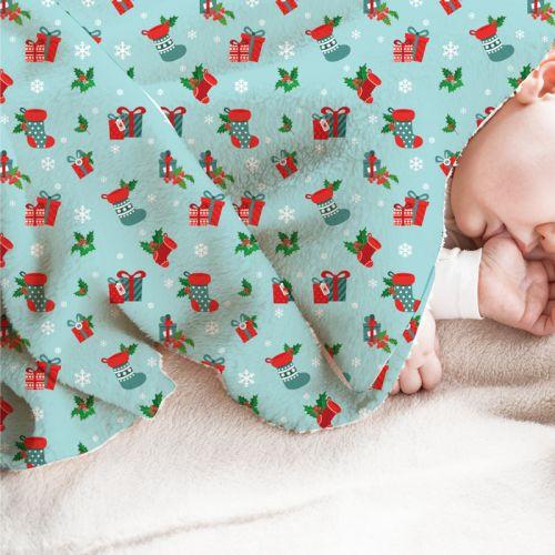 Bottes et cadeaux de Noel - Fond turquoise