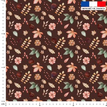 Chataigne et feuilles - Fond marron