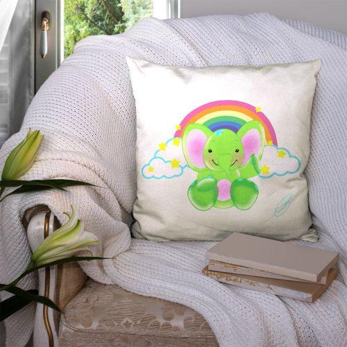 Coupon 45x45 cm motif éléphant vert - Création Créasan'