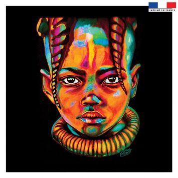 Coupon 45x45 cm motif portrait de femme noir néon - Création Créasan'