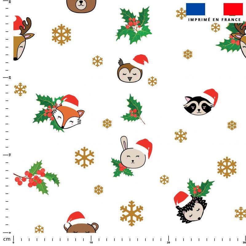 Animaux de Noel et flocons - Fond blanc