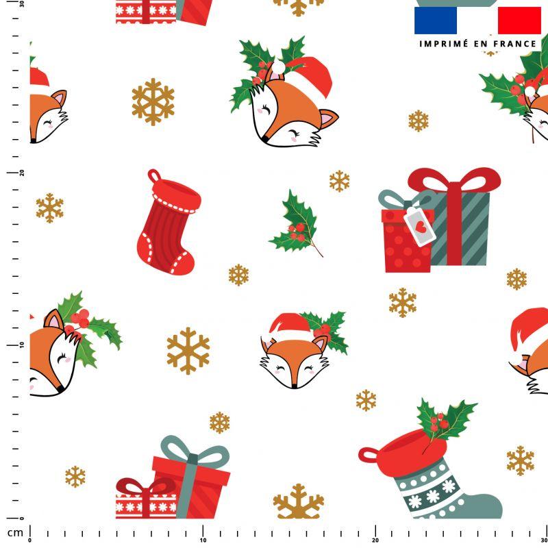 Renard et cadeaux de Noel - Fond blanc