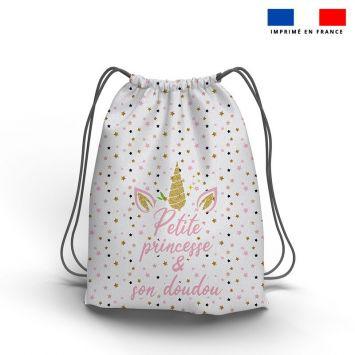 Kit sac à dos coulissant motif licorne gold