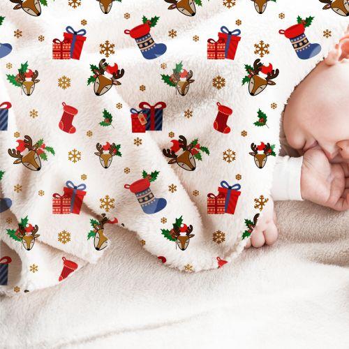 Polaire blanche motif renne et cadeaux de Noel