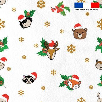 Polaire blanche motif animaux de Noel et flocons