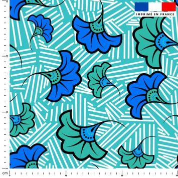 Fleur de mariage bleue et verte wax - Fond bleu et traits blancs