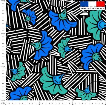 Fleur de mariage bleue et verte wax - Fond noir et traits noirs