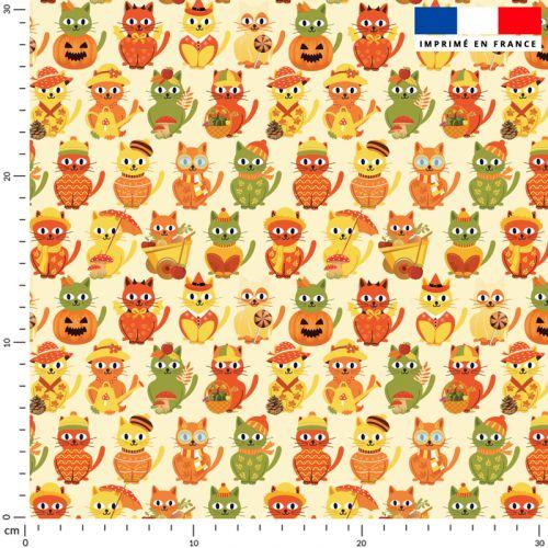 Chat d'automne - Fond beige