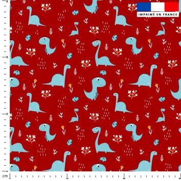 Dinosaure bleu - Fond rouge