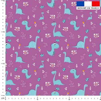 Dinosaure bleu - Fond mauve