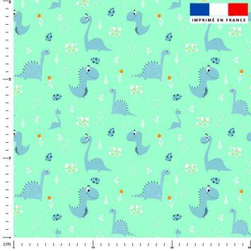 Dinosaure bleu - Fond vert d'eau