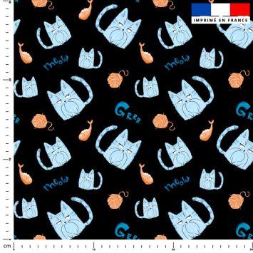 Chat bleu pelote - Fond noir