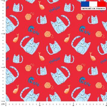 Chat bleu pelote - Fond rouge