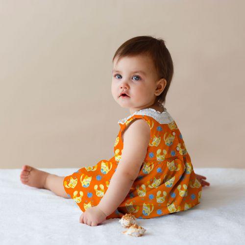 Chaton jaune pelote bleue - Fond orange