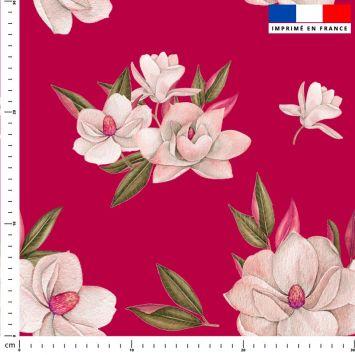Fleur japonaise - Fond rouge framboise