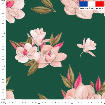 Fleur japonaise - Fond vert foncé